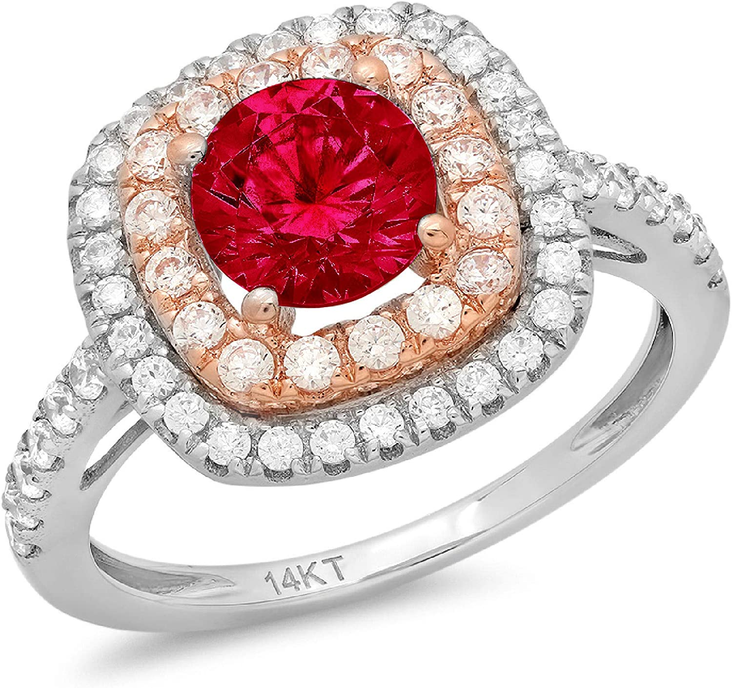 1.69ct Round Cut Solitaire double Halo Flawless Ideal VVS1 Simulated CZ Red Ruby Engagement Promise Statement Anniversary Bridal Wedding Accent Designer Ring Solid 14k two tone Gold