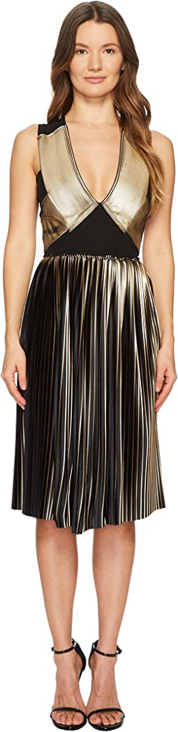 Foil Pleat V-Neck Dress