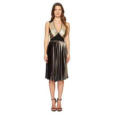 YIGAL AZROUEL Foil Pleat V-Neck Dress (Gold/Jet) Women