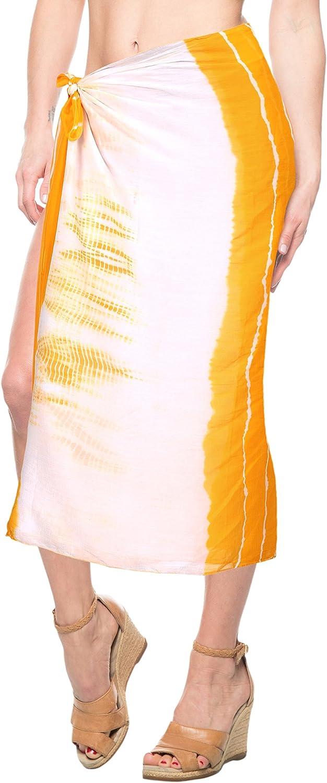 LA LEELA Women's Plus Size Sarong Swimsuit Cover Up Beach Wrap Skirt Full Long C