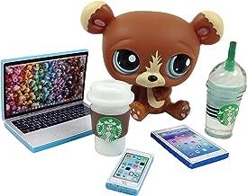 happyblockbuilder LPS Accessories Littlest Pet Shop 5 pc. Lot Set: Laptop, Tablet, Phone, + 2 Drinks; PET NOT Included