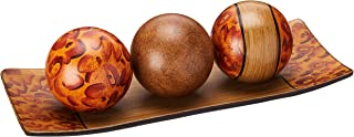 """Hosley's Brown Decorative Tray and Orb/ball Set- 15"""" Long, Burlwood Style Finish. Ideal GIFT for Weddings, Party, Spa, Reiki, Meditation O3"""