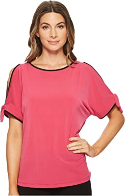 Matte Jersey Cold Shoulder with Piping Blouse
