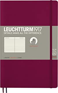 Leuchtturm1917 Softcover B6+ Ruled Notebook- 121 Numbered Pages, Port Red