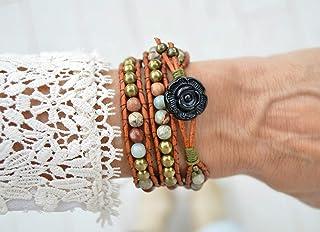 Bracciale boho avvolgente con perline naturali, regalo per le donne