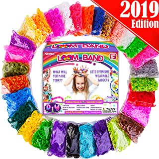 FunzBo Rainbow Rubber Band Loom Refill Kit - 3 in 1 Super Colorful Rubber Loom Bands for Bracelet, Hair Band, DIY Arts and Crafts - Perfect Gift for Kids Age 5 6 7 8 Year Old Girls Crafting (Mega)