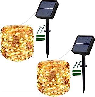 Solar String Lights Outdoor, 2 Pack 120 LED Solar Garden Lights Waterproof 12M/40Ft 8 Modes Indoor/Outdoor Fairy Lights Co...