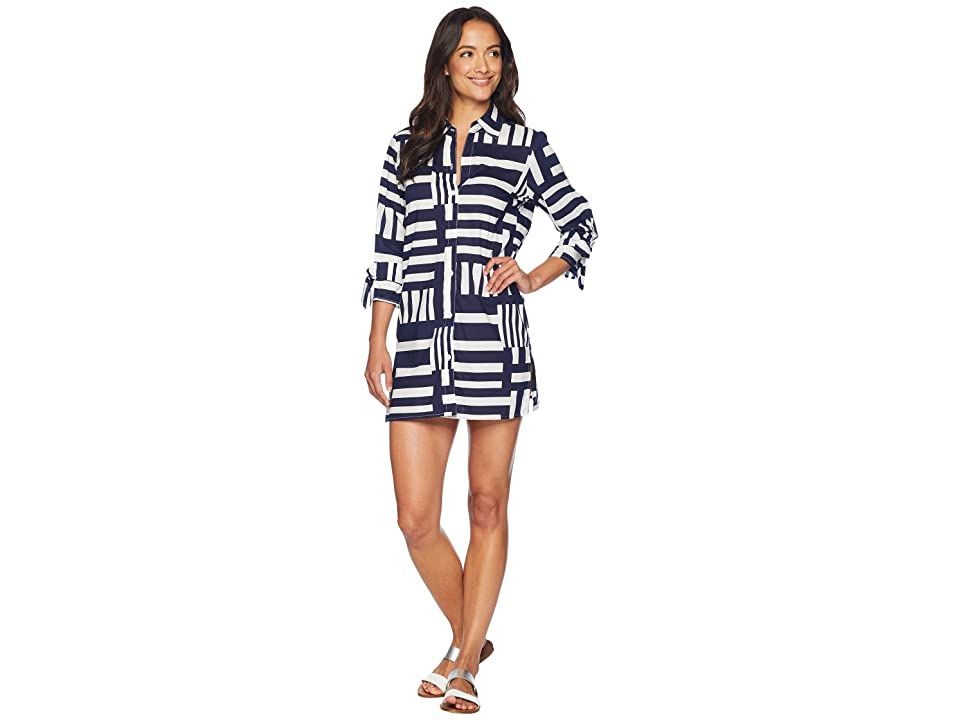 Tommy Bahama Blocked Geo Boyfriend Shirt Cover-Up (White/Mare Navy) Women