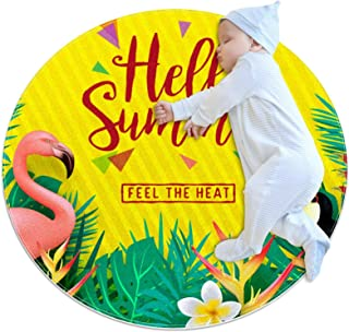 Soft Round Area Rug 80x80cm/31.5x31.5IN Anti-Slip Floor Circle Mats Absorbent Memory Sponge Standing Mat,Hello Summer Feel...