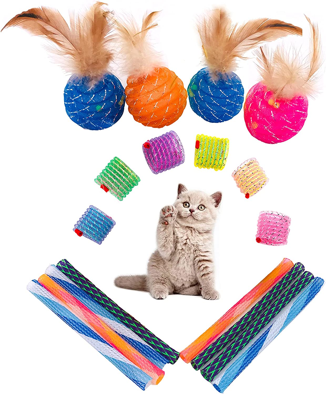JpGdn Tulsa Mall Cat Spring Toy Kitten Ball Max 74% OFF with Coil Feather Tube o
