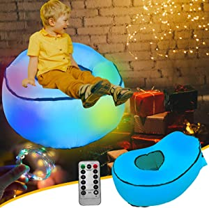 Inflatable Chair for Kids Bean Bag LED Furniture, Blow Up Couch Lounger Teen Air Sofa with String Light Color Changing, Portable Children Beanless Bag Chair for Bedroom Dorm Christmas Gifts-Blue
