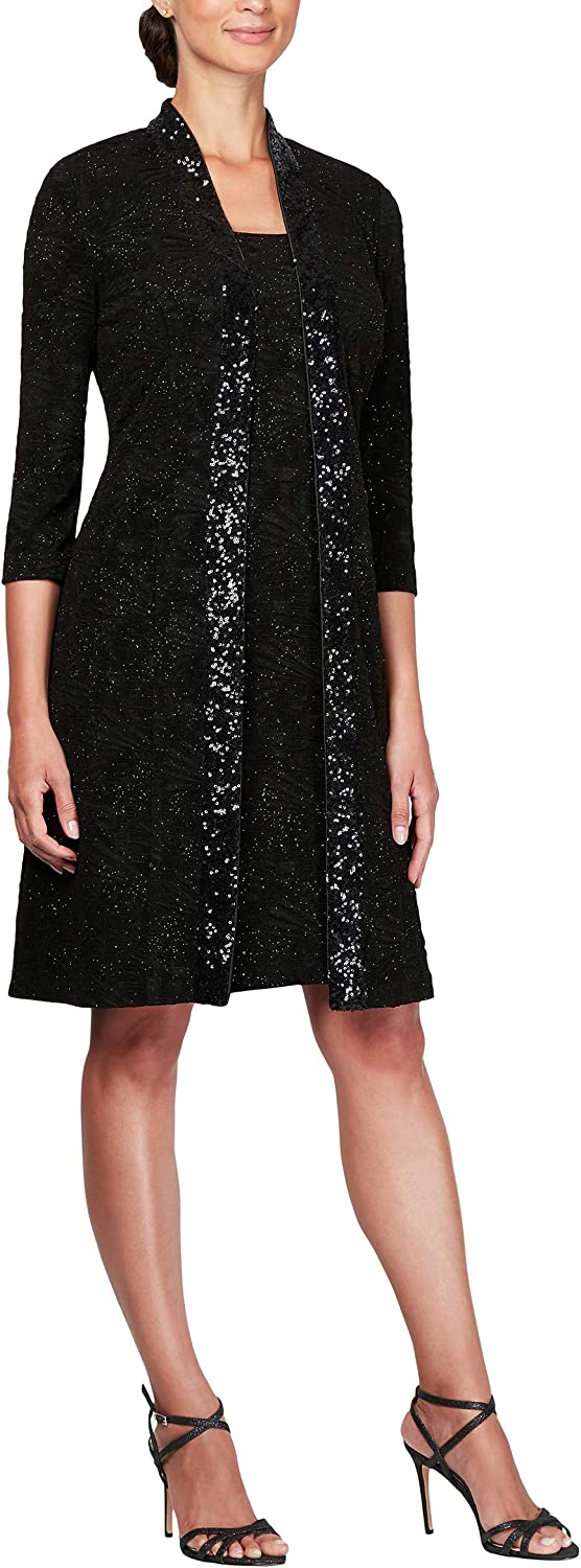 Alex Evenings Womens Long Jacket with Lace Dress (Petite and Regular Sizes) Mother of The Bride Dress