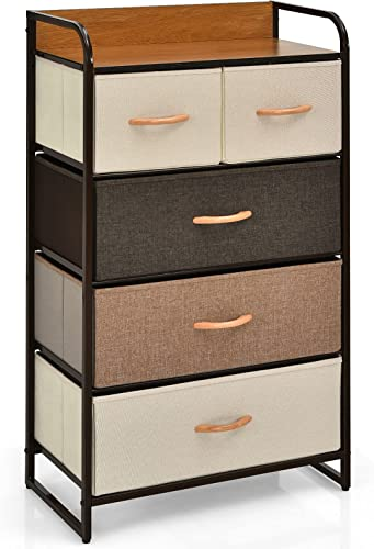 2021 Giantex 5 Drawer Dresser Storage Tower with Fold-able Fabric Drawers, Sturdy Steel Frame & Wooden Top Vertical Organizer Unit for Closets, Bedroom outlet online sale Utility Dresser Chest (23 x 11.5 outlet sale x 39 inch) outlet sale