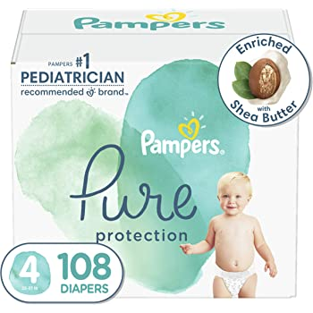 Diapers Size 4, 108 Count - Pampers Pure Protection Disposable Baby Diapers, Hypoallergenic and Unscented Protection, Enormous Pack