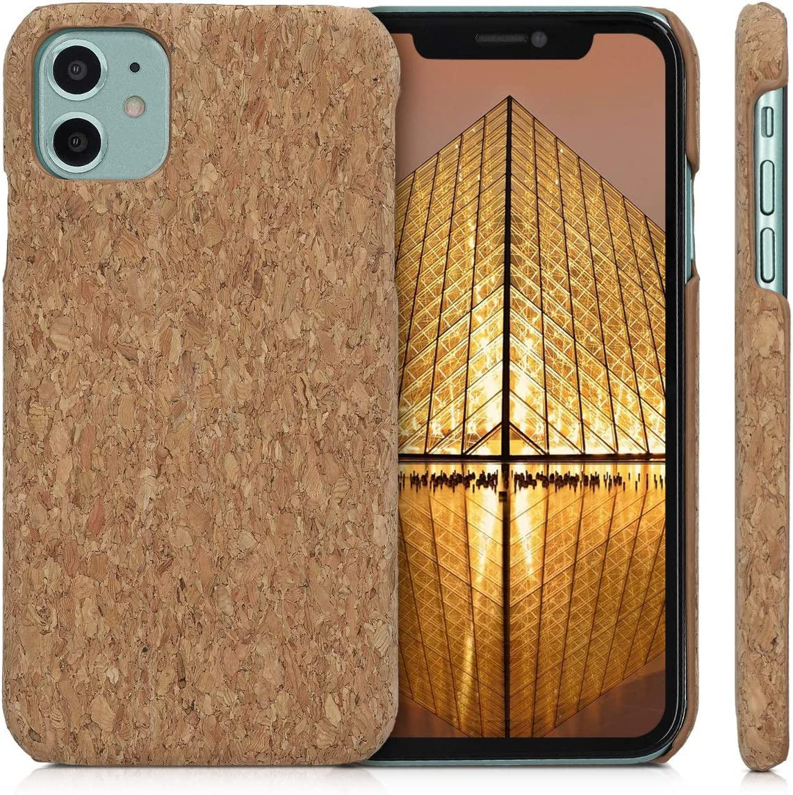 kwmobile Case Compatible with Apple iPhone 11 - Case Protective Cork Mobile Cell Phone Cover - Light Brown