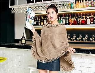 Plus Size Women's Wool Plaid Cardigan Turtleneck Cape Batwing Sleeve Knit Poncho Sweater