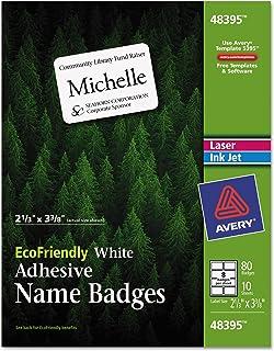 ملصقات شارة Avery EcoFriendly لطابعات الليزر والحبر النفاثة، 2.333 × 3.375 بوصة، أبيض، دائم، حزمة من 80 (48395)
