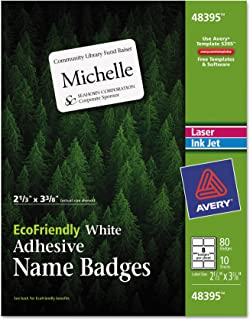 Avery EcoFriendly Name Badge Labels for Laser and Ink Jet Printers, 2.333 x 3.375 Inches, White, Permanent, Pack of 80 (48395)