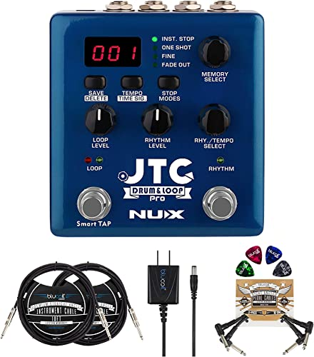 """discount NUX JTC PRO Drum Loop PRO Dual Switch Looper Pedal Bundle with Blucoil Slim 9V Power Supply AC Adapter, new arrival 2x 10' Straight Instrument Cable (1/4""""), new arrival 2x Patch Cables, and 4x Guitar Picks sale"""