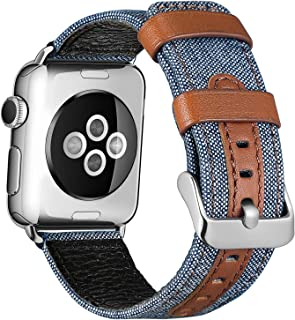 SKYLET Compatible with Apple Watch Bands 44mm 42mm 40mm 38mm Leather Bands, Canvas Fabric Soft Wristbands Compatible with ...