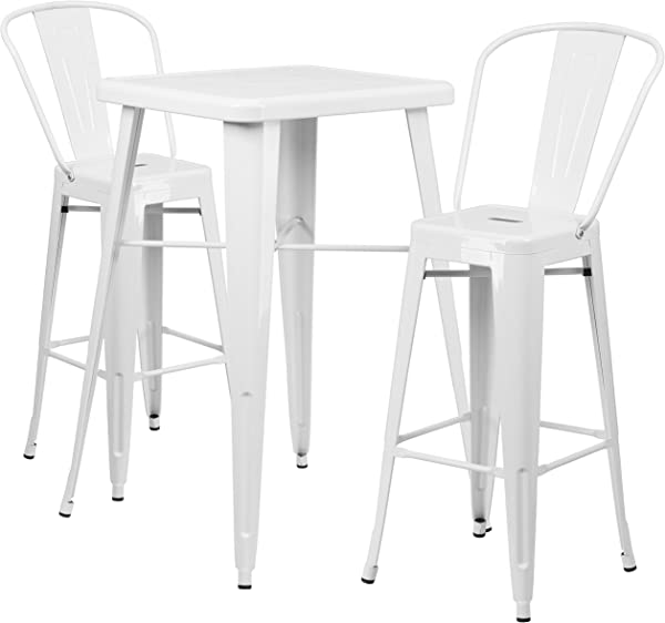 Flash Furniture 23 75 Square White Metal Indoor Outdoor Bar Table Set With 2 Stools With Backs