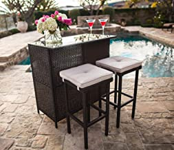 SUNCROWN Outdoor Bar Set 3-Piece Brown Wicker Patio Furniture - Glass Bar and Two Stools with Cushions for Patios, Backyar...