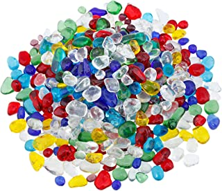 SUNYIK Lampwork Glass Tumbled Chips Crystal Crushed Pieces Irregular Shaped 1pound(About 460 Gram)