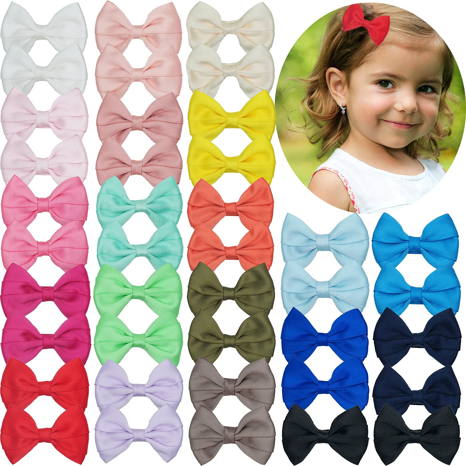 40PCS Baby Girls Special price Hair Clips 5 popular C 3Inch Bows Boutique Alligator