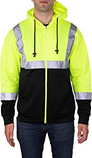 Arctic Quest Mens High Visibility Full Zip Fleece Hoodie Safety Sweatshirt with Reflective Detail