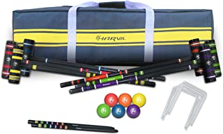 Harvil 6-Player Croquet Set for All Ages with Mallets, Balls, Stake Posts, Wickets, and Carrying Case