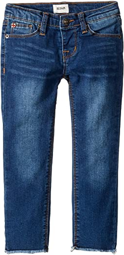 Knit Denim Raw Hem Ankle Skinny in Blue Depth (Toddler/Little Kids)