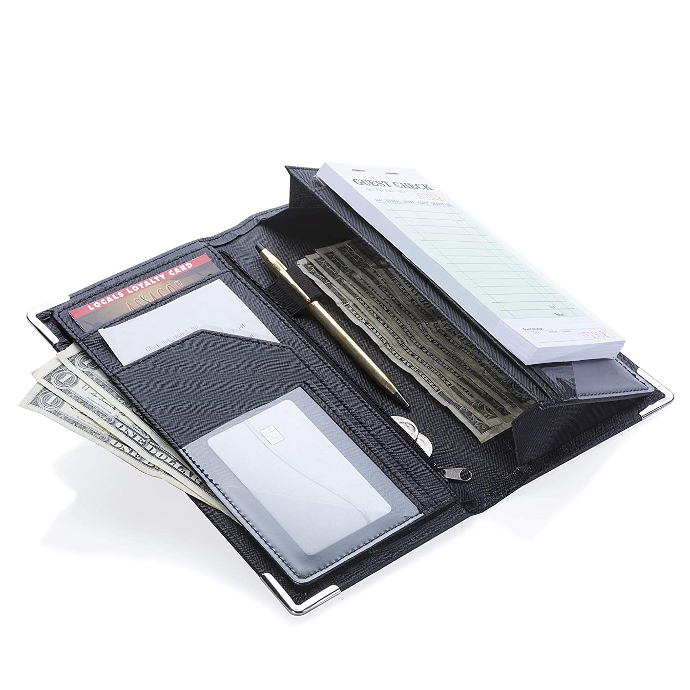 Sonic Server 5x9 11-Pocket Server Book Organizer with Double Magnetic Pockets, Zipper Pouch & Pen Holder for Waitress Waiter Waitstaff | Cross-Textured Black | Fits Apron Holds Guest Checks
