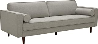 "Amazon Brand – Rivet Aiden Mid-Century Modern Sofa Couch, 86.6""W, Light Grey"