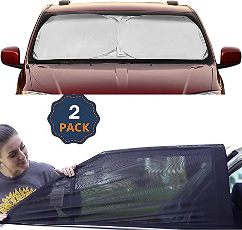 """2021 EcoNour Gift wholesale Bundle   Windshield Sun Shade (X-Large 75""""x37"""") + Car Window Screen for Camping (Medium 36""""x17"""")(2 Pack)   Complete Sun Protection   Covers Privacy Blackout   Easy sale to Use Car Accessories online"""