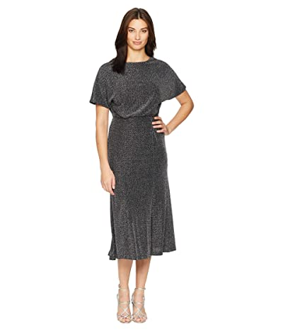 Donna Morgan Metallic Knit Midi Dress w/ Slit and Dolman Sleeve (Black) Women