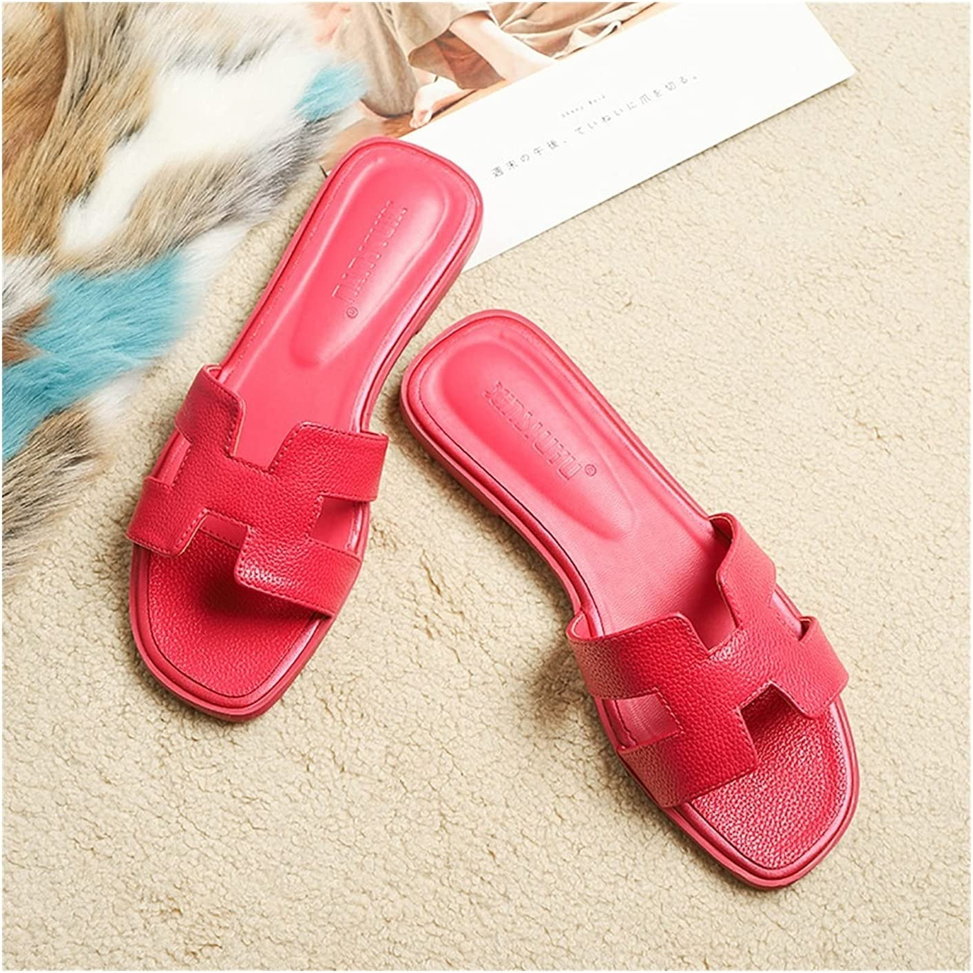JDGFF H Band-Sandals for Women Flats Slide Sandals Summer Outdoor Slippers Low Heel Leather Square Open Toe Slippers Mules (Color : Red B, Size : 42EU)