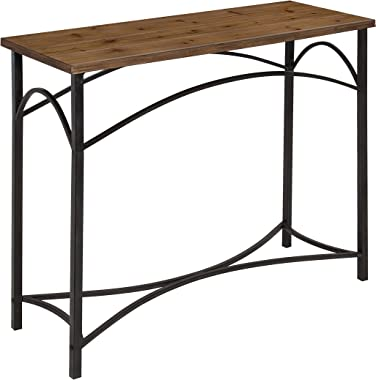 Kate and Laurel Strand Console Table, Rustic Wood Top with Iron Legs