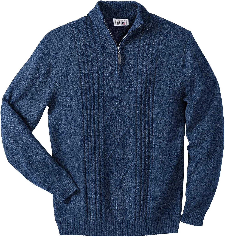 Liberty Blues Men's Big & Tall SHOREMAN'S 1/4 Zip Cable Knit Sweater