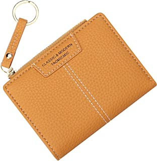 Small Compact Bifold Wallets for Women Girls Credit Card Holder with Keychain