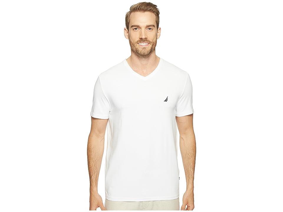 Nautica Slim Fit V-Neck T-Shirt (Bright White) Men