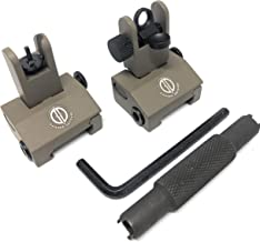 DD DAGGER DEFENSE Flip up Aluminum, BUIS with Front Sight Tool, Rail Mounted Backup Iron Sights