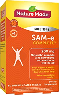 Nature Made SAM-e Complete 200 mg Tablets, 60 Count for Supporting a Healthy Mood (Packaging May Vary)