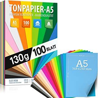 100 feuilles de PAPIER VÊTEMENT - papier coloré A5-130g / m² set 20 couleurs - enfants & bricolage feuilles, accessoires p...