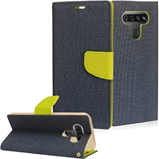 CELZEN - for LG K51, LG Reflect (LM-K500) - Denim Fabric Wallet Phone Case - CT5 Green/Dark Blue