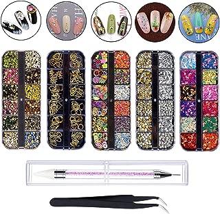 ネイルパーツ ネイル デコ用 カラーラインストーン 5個のケース入り 大容量セット 3D ネイルアート セルフネイル レジン ネイル ピンセット1本付き1ポイントドリルペン
