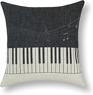 CaliTime Canvas Throw Pillow Cover Shell for Couch Sofa Home Decoration Music Elements 18 X 18 Inches Piano Black Keys