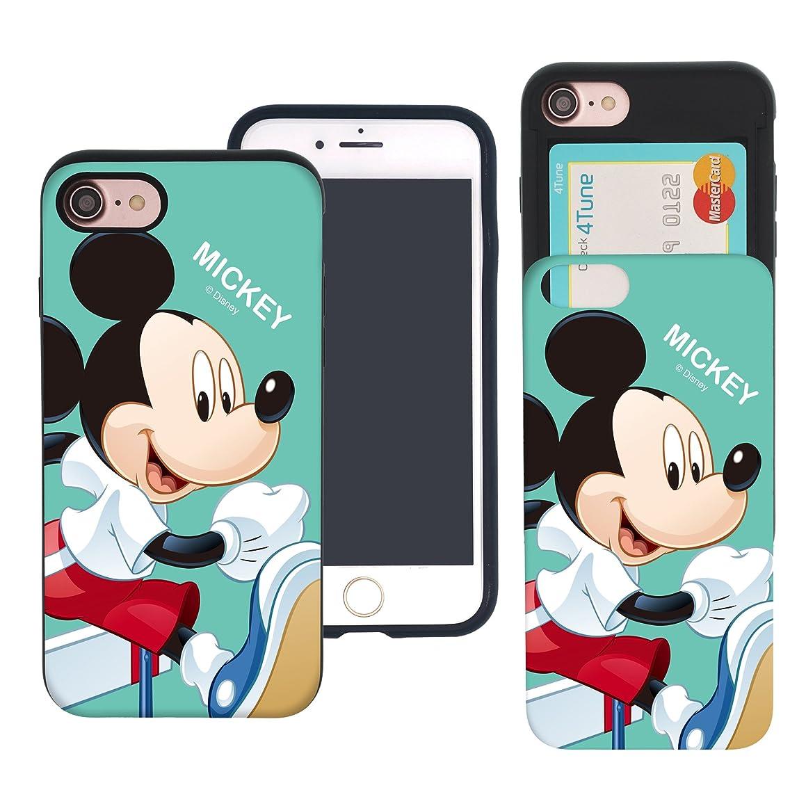 大胆スリラー届けるiPhone 8 ケース iPhone 7 ケース Disney Mickey Mouse ディズニー ミッキーマウス カード スロット ダブル バンパー ケース/スマホケース おしゃれ 【 アイフォン8 ケース / アイフォン7 ケース (4.7