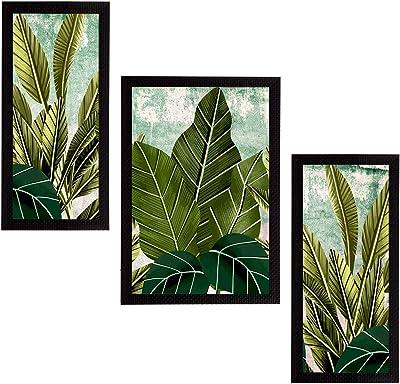eCraftIndia Set of 3 Botanical and Floral Satin Matt Textured UV Art Painting