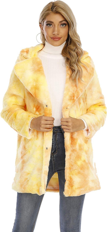 TOPONSKY Womens Winter Warm Lapel Faux Fur Fuzzy Coat Jacket Overcoat