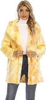Womens Winter Warm Lapel Faux Fur Fuzzy Coat Jacket Overcoat